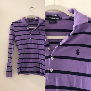 Purple striped POLO long sleeve